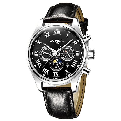 ltifunction Automatic Self Wind Mechanical Watch Moon Phase Luminous Analog Watch (Calfskin Band-Silver Case-Black Dial) ()