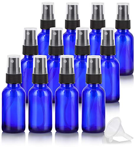 1 oz Cobalt Blue Glass Boston Round Fine Mist Spray Bottle 12 Pack Funnel for Essential Oils, Aromatherapy, Food Grade, bpa Free