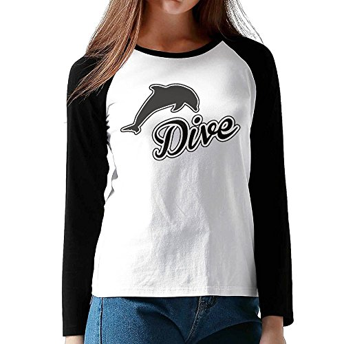 Lone Dolphin (TinaTN Dive Dolphin Women's Lone Sleeves Round Neck Raglan Loose Tops)