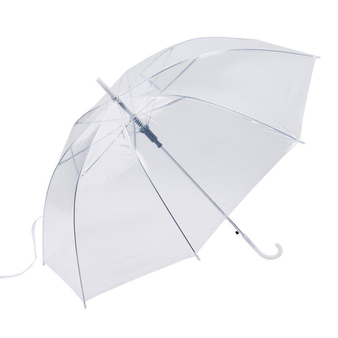 Paraguas a prueba de viento transparente transparente Paraguas paraguas automático para el banquete de boda Favor Stand Inside Out Rain Protección: ...