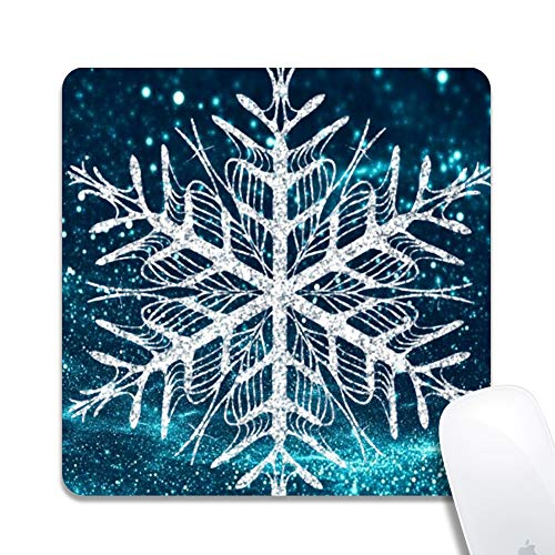 Rinda Customized Square 200x200x3mm Mouse Pad, Sparkling Snowflake, Non-Slip Rubber Gaming Mousepad, Durable & Comfortable Mouse Mat with Stylish Pattern (Drifting Snow)