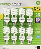 GE 13-Watt Energy Smart Fluorescent Light Bulbs, 8 Pack, 60 Watt Replacement