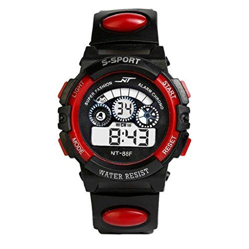 Sports Boy Digital LED Quartz Alarm Date Wrist Watch Waterproof Red - 3