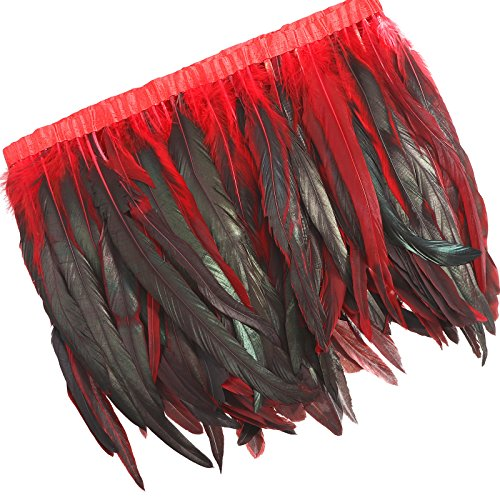 AWAYTR Rooster Hackle Feather Trim 10-12 inches Width for DIY Sewing Crafts Pack of 1 Yard (Red&Black)