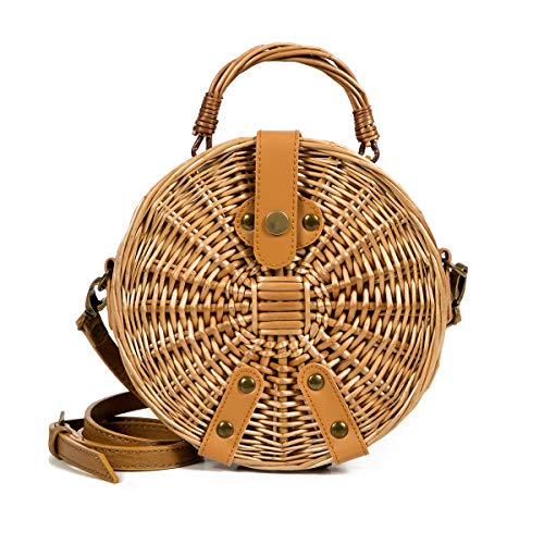 (Lefur Rattan Bag Handmade Wicker Circle Woven Purse Round Straw Handbag for Women Crossbody Bag with Shoulder Leather Strap )