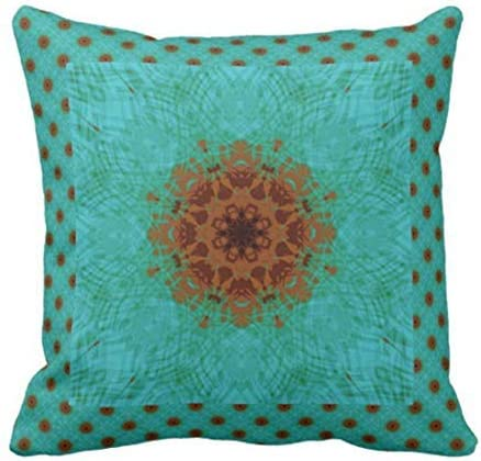 teal and rust decorative pillows