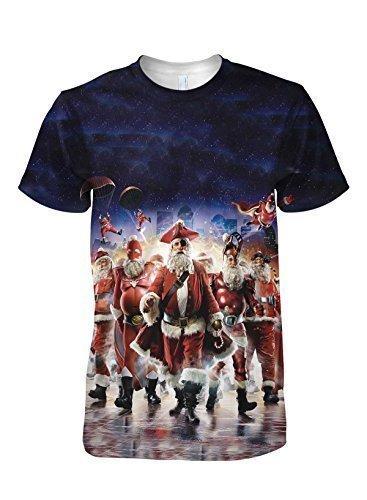 Santa Claus El Superhéroes Moda Mujer Camiseta - sintético, Multicolor, 100% poliéster,