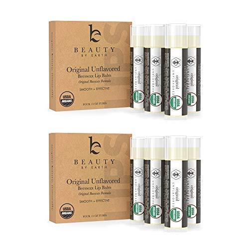 Lip Balm - Organic Pack of 8 Tubes Unflavored Original Moist
