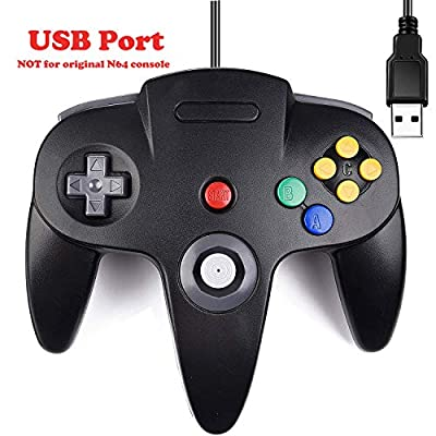 Classic N64 Controller, Ablave N64 Wired USB PC Game Controller Joystick, N64 Bit USB Wired Gamepad Joy Stick for Windows PC MAC Linux Raspberry Pi 3 Genesis Higan