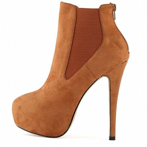 HooH Women's Zipper Elastic Round-toe Platform Stiletto Pump Ankle Increases Boot Brown