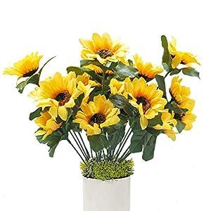 "Hagao Sunflowers Artificial Flowers Bouquet for Home Decoration/Wedding Decor 4 Sets(7 Stems/Set) 11.8"" 118"