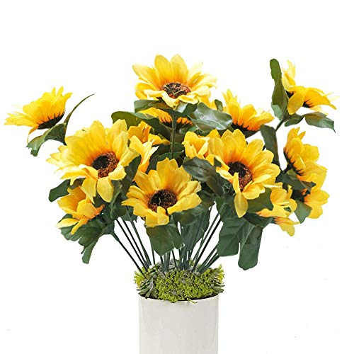 - Hagao Sunflowers Artificial Flowers Bouquet for Home Decoration/Wedding Decor 4 Sets(7 Stems/Set) 11.8