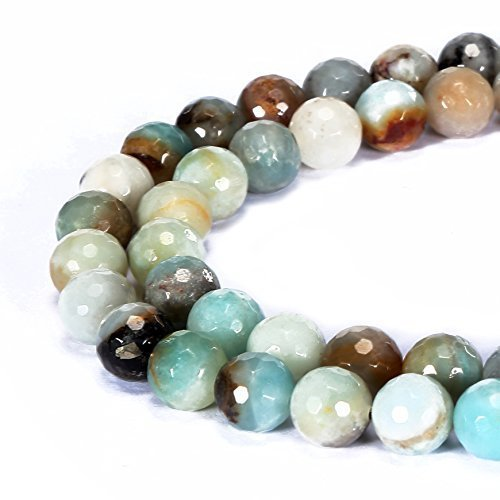 jennysun2010 Natural Multi-Colored Amazonite Gemstone 6mm Faceted Round Loose 60pcs Beads 1 Strand for Bracelet Necklace Earrings Jewelry Making Crafts Design Healing ()
