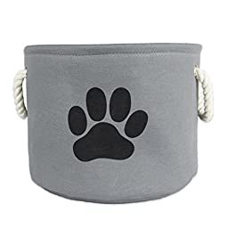 Bone Dry DII Pet Toy and Accessory Round Storage Basket, Gray, 12 X 14.5\