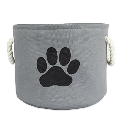 "DII Bone Dry Medium Round Pet Toy and Accessory Storage Bin, 14.5""(Dia)x12""(H), Collapsible Organizer Storage Basket for Home Décor, Pet Toy, Blankets, Leashes and Food-Gray with Black Paw"