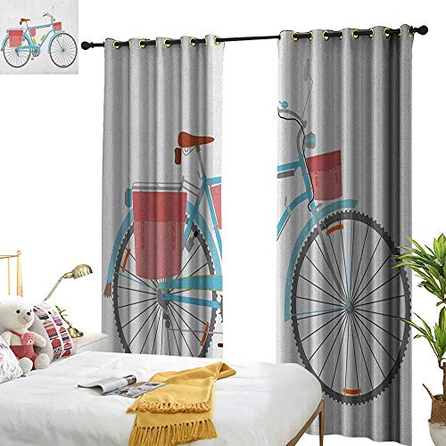 Bicycle Blackout Draperies for Bedroom Classic Touring Bike with Derailleur and Saddlebags Healthy Active Lifestyle Travel W72 x L108,Suitable for Bedroom Living Room Study, etc. ()