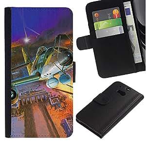 // PHONE CASE GIFT // Moda Estuche Funda de Cuero Billetera Tarjeta de crédito dinero bolsa Cubierta de proteccion Caso HTC One M8 / Vintage Jet Berlin /