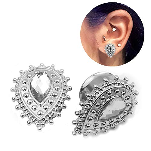 Kokoma Crystal Teardrop Ear Plugs (Silver-14mm(9/16