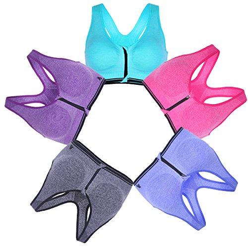 B.BANG Women High Impact Sports Bra Padded Zipped Seamless (3XL, 5-Pack)