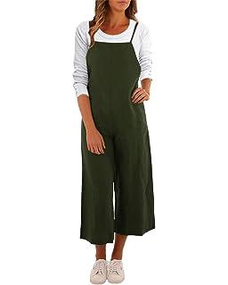 MAGIMODAC Women Summer Cotton Dungarees Casual Baggy Jumpsuit Playsuit Retro Trousers Pants Plus Size Oversize UK 10 12 14 16 18 20 22 24