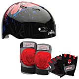 Marvel Ultimate Spiderman Kids Skate / Bike Helmet Pads & Gloves - 7 Piece Set