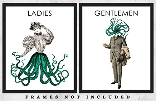Victorian Ladies and Gentlemen Octopus Wall Art Prints: Unique Bathroom Decor - Set of Two (8x10) Unframed Pictures - Great Gift Idea Under - Ladies Victorian Pictures