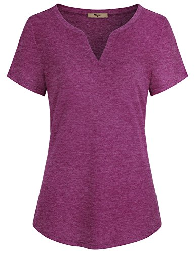 Miusey Women Shirts and Blouses, Ladies V Neck Short Sleeve Casual Cotton Henley Tunic Tops Space Dye Red X-Large