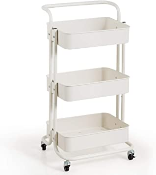 Office Bedroom QiMH 3 Tier Rolling Storage Cart Heavy Duty Mobile Rolling Utility Cart with Handles and Wheels Multifunction Large Storage Shelves Organizer with Mesh Basket for Kitchen Bathroom