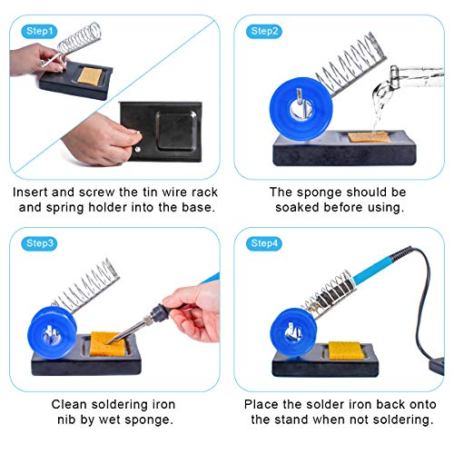 Soldering Iron Kit Electronics, 60W Soldering Welding Iron Tools with ON-OFF Switch, 5pcs Soldering Iron Tips, Solder Sucker, Soldering Iron Stand, Tweezers, Solder Wick, Wire Cutter, PU Carry Bag