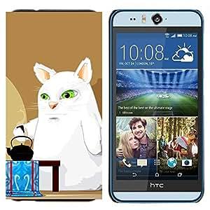 TECHCASE---Cubierta de la caja de protección para la piel dura ** HTC Desire Eye ( M910x ) ** --Big White Cat Comic Art Ojos verdes Hervidor