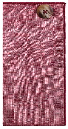 Maroon Linen with Brown Horn Button Men's Pocket Square by The Detailed Male by The Detailed Male (Image #1)