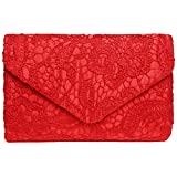 Fashion Road Evening Clutch, Womens Floral Lace Envelope Clutch Purses, Elegant Handbags for Wedding and Party Red