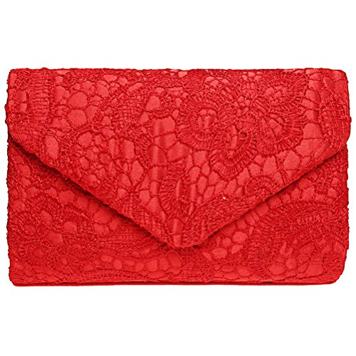 Fashion Road Evening Clutch, Women Floral Lace Envelope Clutch Purses, Elegant Handbags For Wedding And Party Red