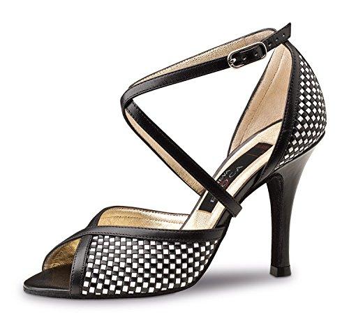 Nueva Epoca-Simona Tango/Salsa Chaussures de danse femme-cuir-noir/blanc-8cm