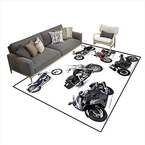 - Carpet,Unique Original Motorcycles Set Freestyle Action Life with Winged Wheels Hobby Print,Non Slip Rug Pad,Multi 5'x8'