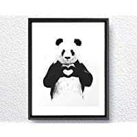MS Fun Baby Panda Animal Canvas Poster Prints for Children Bedroom Decoration,8'x10',No Frame