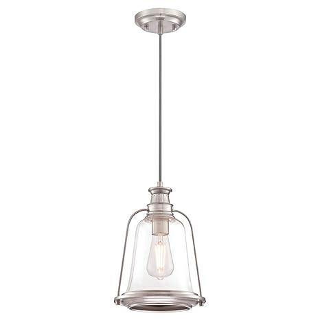 Westinghouse 63639 Luminaria Colgante de Interior de una lámpara, Acabado en níquel Cepillado con Vidrio Transparente
