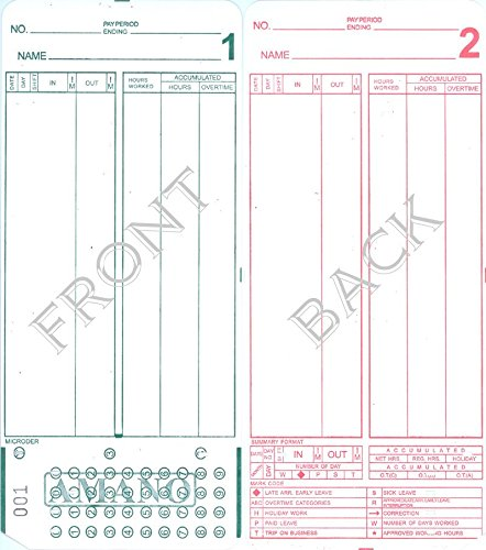 Compumatic Time Recorders - (1000) Amano MJR-8000 Time Clock Cards, 000-249 Number Series