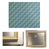 ArtVerse STR058-MA2024 Dana Strider Color Contrast Basketweave Stripes Metal Print, 20 x 24, Blue & Green