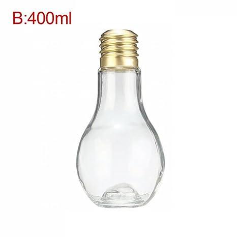 Biback Botella De La Bombilla Creativa Bombilla Linda Botella De Bebida Botella De Jugo para La