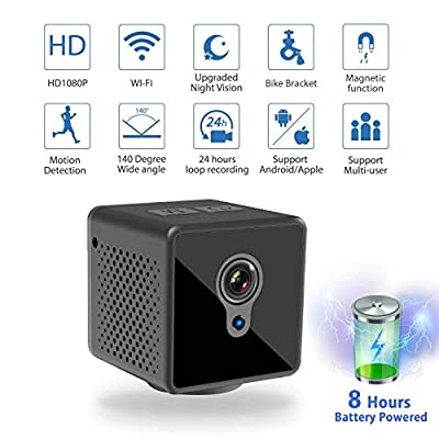 Mini Spy Camera WiFi, Relohas 1080P Spy Hidden Camera Upgraded Night Vision Spy Cam, Portable Nanny Camera with Motion Detection for Home/Office Security and Outdoor (with Cell Phone App) from Relohas