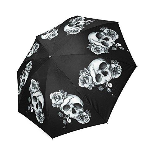 Hot Sale Sugar Skull with Flower Art Foldable Umbrella Compact Umbrella (Skull Umbrella)