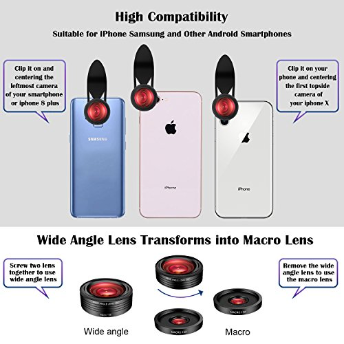 iPhone Camera Lens Kit,5 in 1 Kaiess 120° Super Wide Angle & Macro Lens + 2X Telephoto Lens + 198° Fisheye Lens + Kaleidoscope Lens for iPhone X/8/7/6/6s plus,Samsung and Most Smartphone by Kaiess (Image #6)