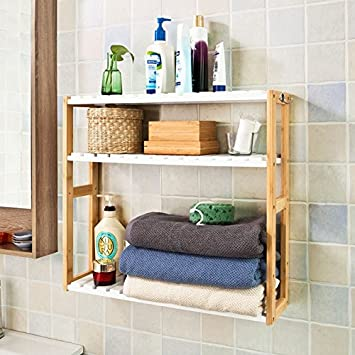 Shelves For Bathroom. Haotian Bamboo 3 Tiers Wall Shelves  Bathroom Kitchen Living Room Storage Racks FRG28 Amazon com