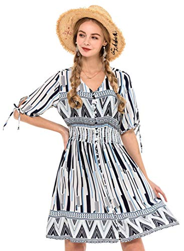 Wantdo Women's Maxi Dress Short Sleeve Slim Fit Dresses Vacation White XXL