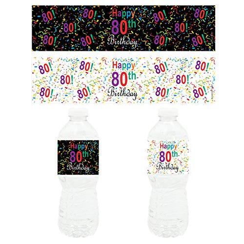 Happy 80th Birthday Party - Water Bottle Labels (Set of 20)