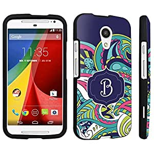 DuroCase ? Motorola Moto G 2nd Gen. 2014 Hard Case Black - (Mint Flower Monogram B)