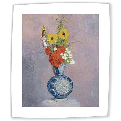 JH Lacrocon Odilon Redon - Bouquet Of Flowers In Blue Vase Canvas Reproductions Rolled 40X50 cm (approx. 16X20 inch) - Flower Still Life Paintings Fully Textured 3D Printed Fine Art