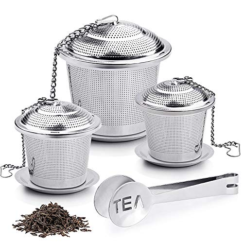 Tea Ball Infuser, 3 Pack 18/8 Stainless Steel Extra Fine Mesh Tea Strainers and Cooking Infuser, with 3 Drip Trays, Extended Chain Hook to Brew Loose Leaf Tea, Spices & Seasonings