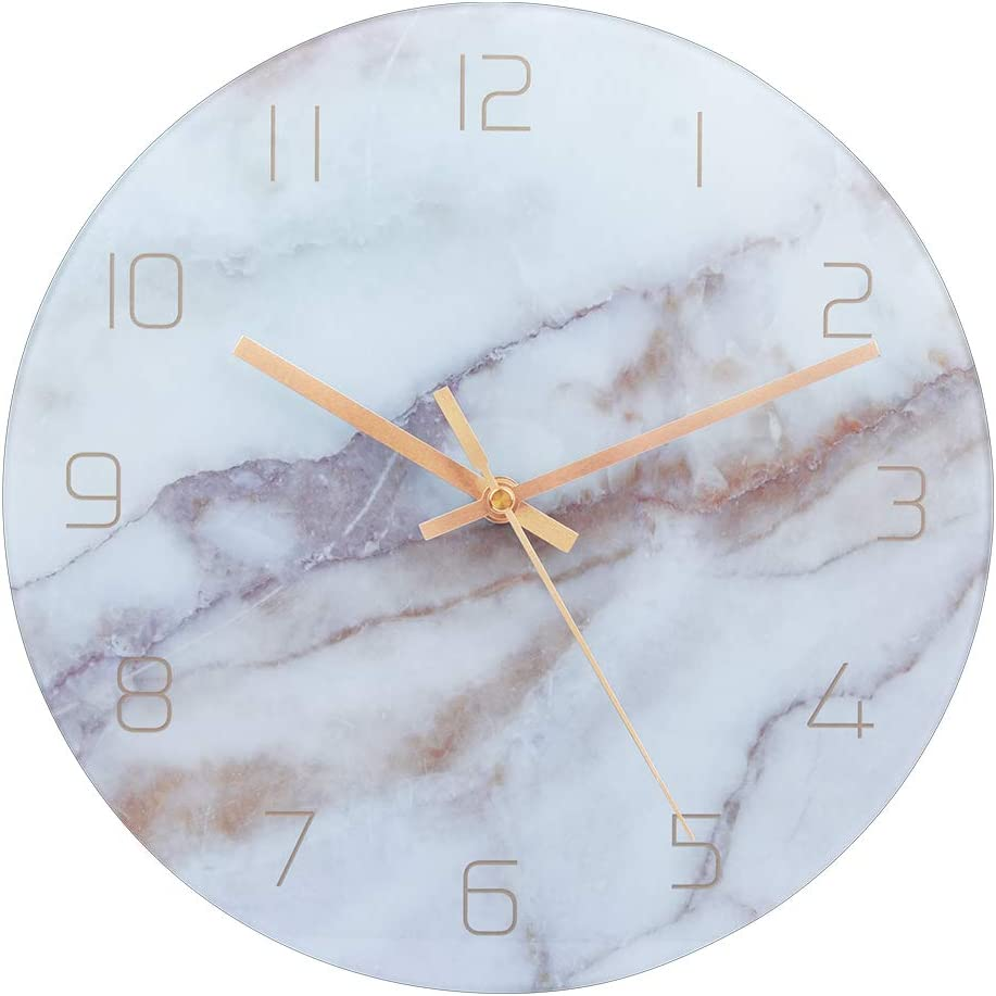 Bedroom Battery Operated Office-Gold Pointer PATGO Decorative Glass Wall Clock for Marble Pattern Fans in Kitchen,Living Room